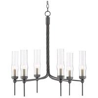 Currey & Company 9000-0510 Exmoor 6 Light 29 inch Hiroshi Gray Chandelier Ceiling Light