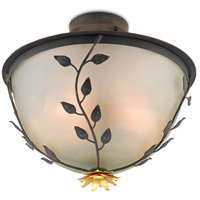 Currey & Company 9000-0516 Sisson 2 Light 16 inch French Black/Contemporary Gold Leaf Semi-Flush Mount Ceiling Light