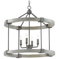 Currey & Company 9000-0529 Bannerman 4 Light 22 inch Hiroshi Gray/Polished Concrete Lantern Pendant Ceiling Light