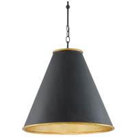 Currey & Company 9000-0535 Pierrepont 1 Light 22 inch Antique Black/Contemporary Gold Leaf/Painted Gold Pendant Ceiling Light Large