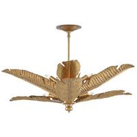 Currey & Company 9000-0544 Tropical 6 Light 34 inch Vintage Brass Semi-Flush Mount Ceiling Light