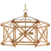 Currey & Company 9000-0552 Kingali 3 Light 25 inch Natural/New Brass Lantern Pendant Ceiling Light