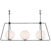 Currey & Company 9000-0562 Stansell 3 Light 44 inch Antique Bronze/White Chandelier Ceiling Light