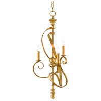 Currey & Company 9000-0571 Georgette 3 Light 15 inch Antique Gold Leaf Chandelier Ceiling Light