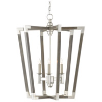 Currey & Company 9000-0605 Bastian 3 Light 24 inch Chateau Gray/Contemporary Silver Leaf Chandelier Ceiling Light Small
