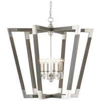 Currey & Company 9000-0606 Bastian 6 Light 37 inch Chateau Gray/Contemporary Silver Leaf Chandelier Ceiling Light Large