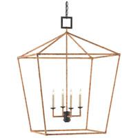 Currey & Company 9000-0611 Denison 4 Light 26 inch Mol Black/Natural Rattan Lantern Pendant Ceiling Light