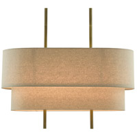 Currey & Company 9000-0620 Combermere 4 Light 42 inch Antique Brass/Linen Linear Chandelier Ceiling Light Rectangular