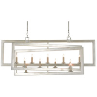 Currey & Company 9000-0634 Middleton 11 Light 54 inch Contemporary Silver Leaf Linear Chandelier Ceiling Light Rectangular