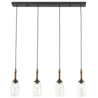 Currey & Company 9000-0651 Hightider 4 Light 40 inch French Black/Natural Rope Linear Chandelier Ceiling Light Rectangular