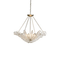 Currey & Company Quantum 4 Light Chandelier in Contemporary Silver Leaf 9000