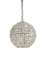 Currey & Company Roundabout 1 Light Pendant in Silver Leaf 9005