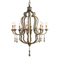 Currey & Company Waterloo 8 Light Chandelier in Washed Gray 9010