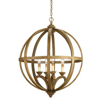 Currey & Company Axel 4 Light Orb Chandelier in Chestnut Wood 9015