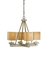 Currey & Company Eclipse 4 Light Chandelier in Silver Granello / Light Antique 9018