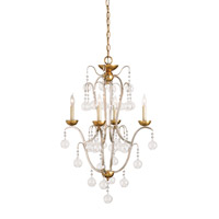 Currey & Company Allusion 4 Light Chandelier in Silver Leaf / Gold Leaf 9027