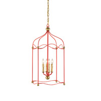 Currey & Company Carousel 4 Light Lantern in Lollipop Red / Gold Leaf 9033