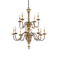 Adara 12 Light 33 inch Ivory Brown/ Sicilian Gold Leaf Chandelier Ceiling Light