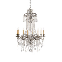 Lillian 8 Light 30 inch Viejo Silver Leaf Chandelier Ceiling Light