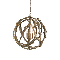 Currey & Company 9078 Driftwood 3 Light 29 inch Natural Orb Chandelier Ceiling Light