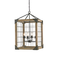 Currey & Company 9083 Eufaula 4 Light 21 inch Old Iron/Natural Ash Lantern Ceiling Light