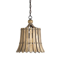 Currey & Company Fruitier 1 Light Pendant in Old Iron/Natural Ash 9088