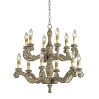 Currey & Company St. Tropez 12 Light Chandelier in Distressed Silver Leaf 9090