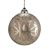 Currey & Company Sahara 1 Light Pendant in Nickel & Copper/Lacquer/Amber 9105