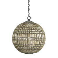 Currey & Company Portico 1 Light Pendant in Black/Antique Glazed Crystal 9106