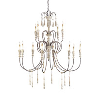 Currey & Company Hannah 12 Light Chandelier in Stockholm White/Rust 9117