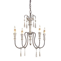 Currey & Company Hannah 4 Light Chandelier in Stockholm White/Rust 9118