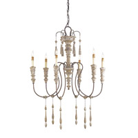 Currey & Company Hannah 6 Light Chandelier in Stockholm White/Rust 9119