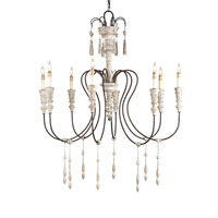 Currey & Company Hannah 8 Light Chandelier in Stockholm White/Rust 9120