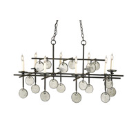 Sethos 8 Light 30 inch Old Iron/Recycled Glass Chandelier Ceiling Light
