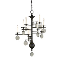 Currey & Company 9126 Sethos 9 Light 28 inch Old Iron/Recycled Glass Chandelier Ceiling Light