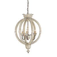 Currey & Company Dauphin 3 Light Chandelier in Stockholm White/Rust 9134