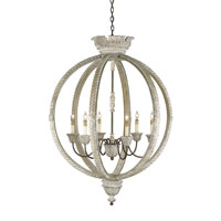Currey & Company Dauphin 6 Light Chandelier in Stockholm White/Rust 9135 photo thumbnail