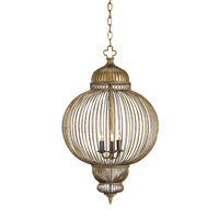 Currey & Company Giltspur 3 Light Chandelier in Rustic Gold/Antique Black 9137