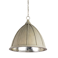 Currey & Company Fenchurch 1 Light Pendant in Oyster Cream/Silver Leaf 9149