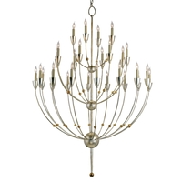 Paradox 28 Light 42 inch Silver Granello/Gold Leaf Chandelier Ceiling Light