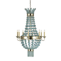 Currey & Company Serena 8 Light Chandelier in Silver Granello/Aqua Glass 9166