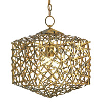 Currey & Company Confetti 1 Light Cube Pendant in Hand Rubbed Gold Leaf 9168
