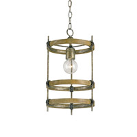Currey & Company Bewley 1 Light Pendant in Pyrite Bronze/Chestnut 9173