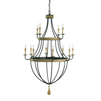Currey & Company Blythwood 12 Light Chandelier in Umber Rust/Washed Wood 9195