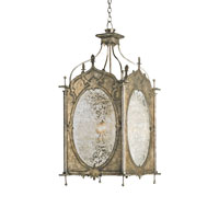Currey & Company Perpetua 4 Light Hanging Lantern in Dirty Silver 9200