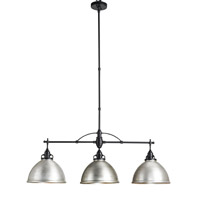 Currey & Company Ruhl 3 Light Chandelier in Satin Black and Antique Brushed Nickel 9209