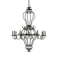 Currey & Company Gotham 12 Light Chandelier in Old Iron/Aged Brass 9211
