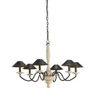 Currey & Company Fortney 6 Light Chandelier in Oyster Cream and Old Bronze 9212
