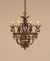 Currey & Company Castello 4 Light Chandelier in Black Bronze/Gold Leaf 9216