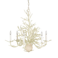 Currey & Company 9218 Seaward 6 Light 29 inch White Coral/Natural Sand Chandelier Ceiling Light